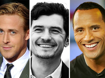 Ryan Gosling, Orlando Bloom, Dwayne Johnson lächeln